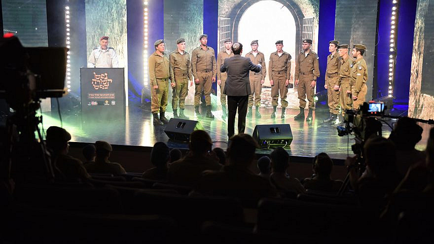 The Military Rabbinate Choir sings a capella at a memorial service honoring fallen Israel Defense Forces soldiers and those from the haredi (ultra-Orthodox) units on Yom Hazikaron, April 13, 2021. Credit: Netzach Yehuda Association.