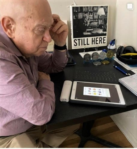 Holocaust survivor Sami Steigmann on the Clubhouse social-media platform. Credit: Courtesy.