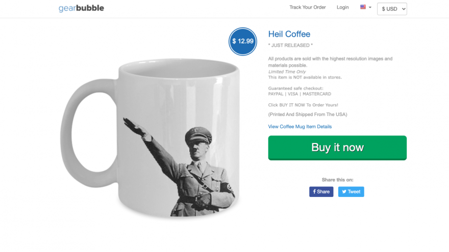 A screenshot from GearBubble featuring a coffee mug with a picture of Adolf Hitler. Source: Screenshot.