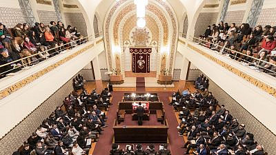 The Jewish community of Porto, Portugal, celebrates Shabbat at the main synagogue. Credit: Jewish Community of Porto.