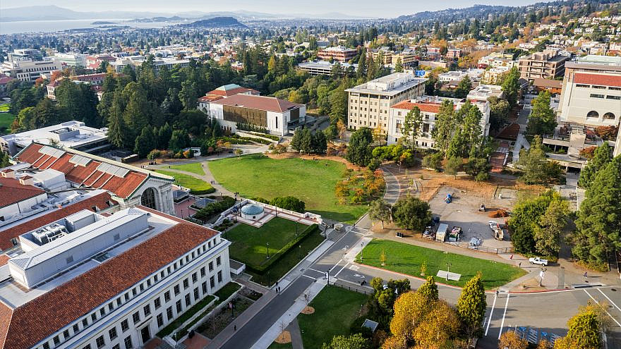 Aerial view of buildings in the University of California, Berkeley campus with a view towards the San Francisco Bay shoreline. Credit: Sundry Photography/Shutterstock.