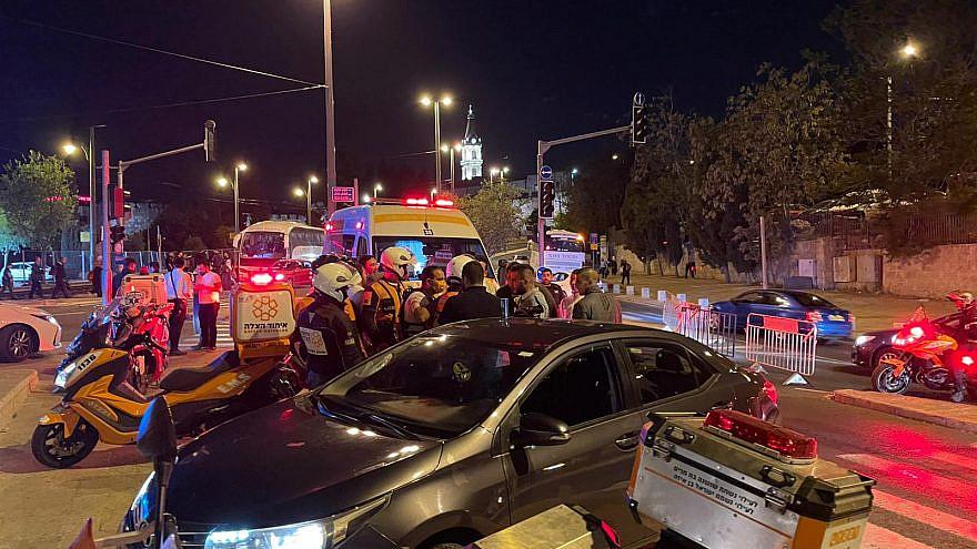 United Hatzalah volunteers help an injured person in eastern Jerusalem. Credit: United Hatzalah.