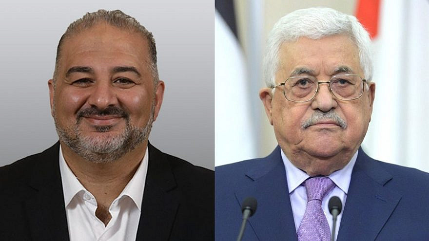 Israeli Knesset member Mansour Abbas (left) and Palestinian Authority leader Mahmoud Abbas. Credits: Knesset and kremlin.ru.