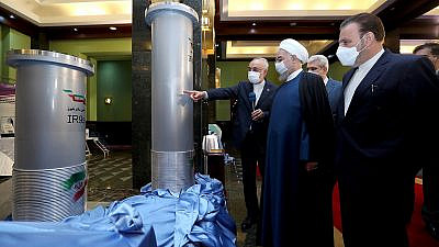 Iranian President Hassan Rouhani reviews new nuclear achievements during the country's National Nuclear Energy Day in Tehran, April 10, 2021. Credit: Iranian Presidency Office.