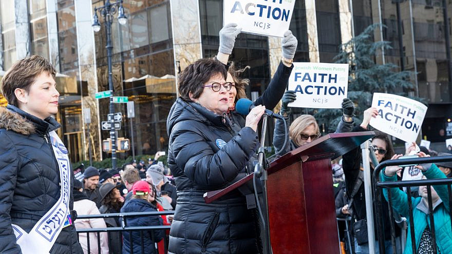 Nancy Kaufman, former CEO of the National Council of Jewish Women, speaks at women's march in New York at Central Park West in 2018. Credit: Lev Radin/Shutterstock.