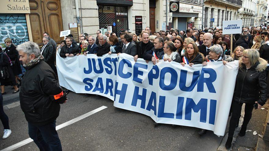 A rally for slain French Jew Sarah Halimi, January 2020. Credit: Gerard Bottino/Shutterstock.