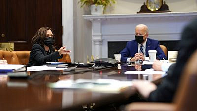 U.S. President Joe Biden and Vice President Kamala Harris in the Roosevelt Room of the White House on March 29, 2021. Credit: Official White House Photo by Lawrence Jackson.
