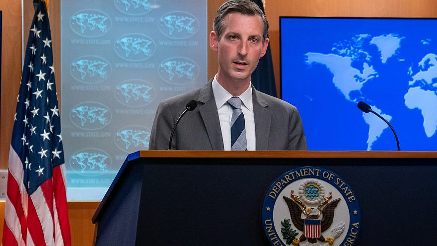 U.S. State Department spokesperson Ned Price briefs reporters during a press briefing in Washington, D.C., on May 11, 2021. Credit: U.S. State Department Photo by Ron Przysucha.