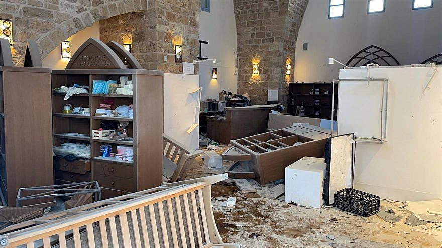 Israeli-Arab rioters overturned display cabinets, threw rocks at windows, destroyed merchandise from local vendors and spilled an unknown substance on the floor of Jewish National Fund-USA's (JNF-USA) Western Galilee Tourist Information Center. Credit: JNF-USA.