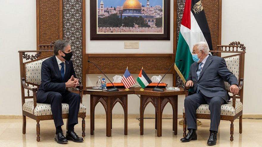 U.S. Secretary of State Antony Blinken meeting with Palestinian Authority leader Mahmoud Abbas in Ramallah on May 25, 2021. Source: U.S. State Department/Twitter.