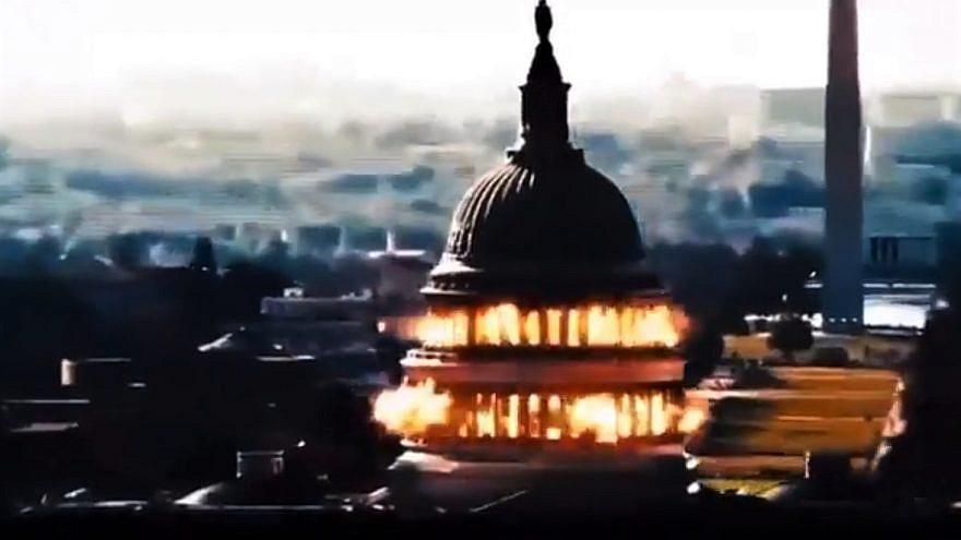 A screenshot of Iranian state TV threatening to blow up the U.S. Capitol in Washington, D.C. Source: Screenshot.