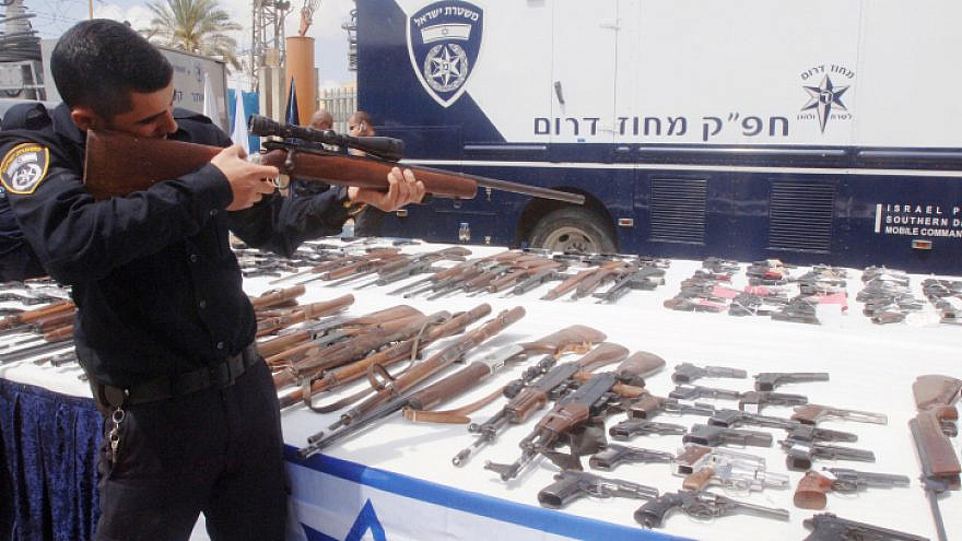 """Illegal firearms seized by Israeli police during """"Operation Law and Order,"""" April 10, 2014. Photo by Flash90."""