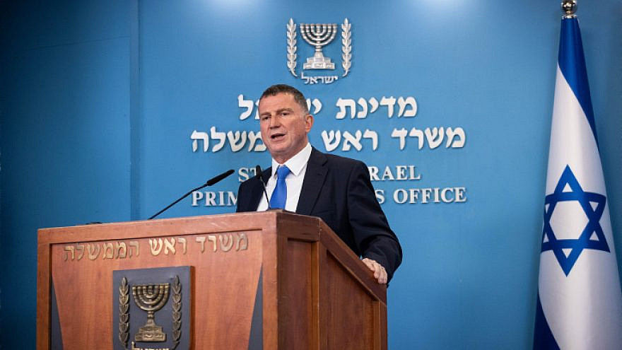 Israeli Health Minister Yuli Edelstein speaks during a press conference with Israeli Prime Minister Benjamin Netanyahu (not seen) at the Prime Minister's Office in Jerusalem, on April 20, 2021. Photo by Yonatan Sindel/Flash90.