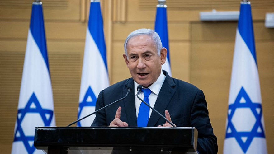 Israeli Prime Minister Benjamin Netanyahu speaks during a press coneference at the Knesset in Jerusalem, on April 21, 2021. Photo by Yonatan Sindel/Flash90.