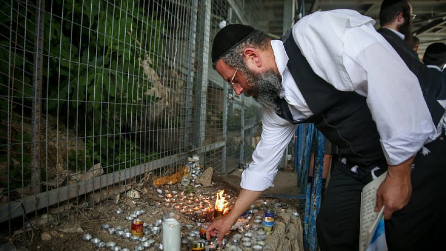 An Orthodox Jewish man visits Mount Meron in northern Israel, where 45 Israelis lost their lives during a stampede at a Lag B'Omer celebration, May 3, 2021. Photo by David Cohen/Flash90.