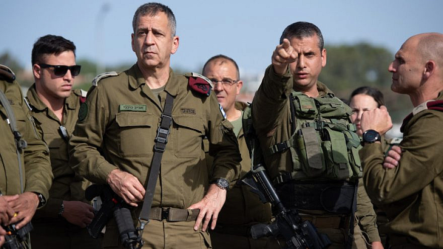 Israel Defense Forces Chief of Staff Lt. Gen. Aviv Kochavi visits the scene of a shooting attack in Tapuach Junction, south of Nablus, on May 3, 2021. Photo by Sraya Diamant/Flash90.