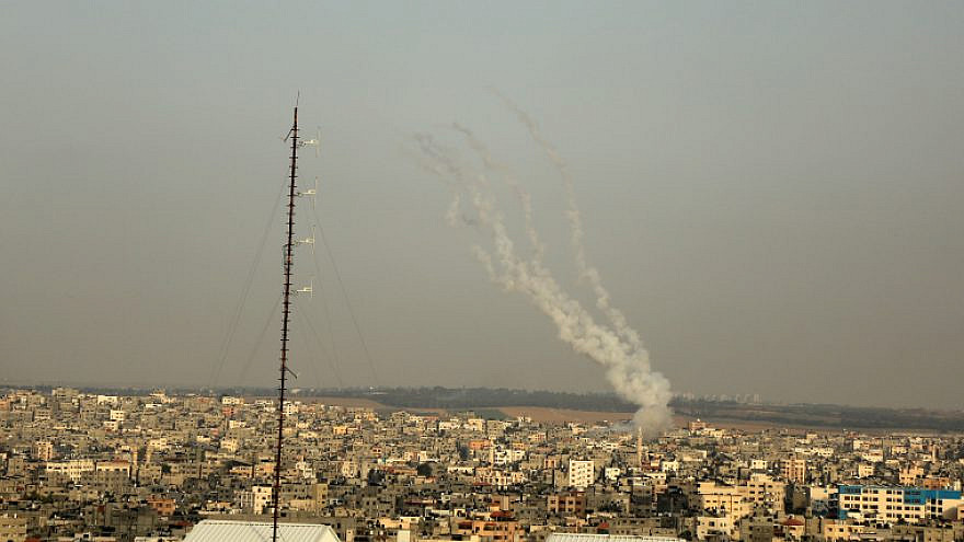 Smoke seen as a rocket is launched from Rafah, in the southern Gaza Strip, towards Israel on May 10, 2021. Photo by Atia Mohammed/Flash90.