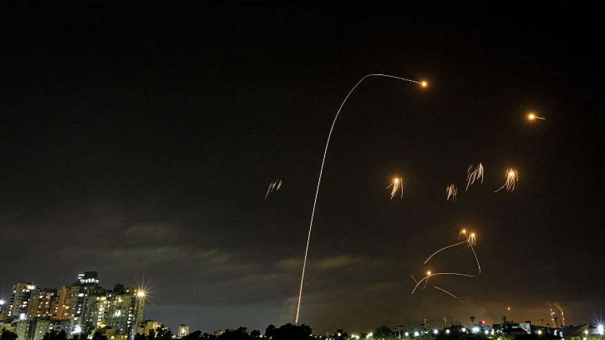 A long-exposure shot shows the Iron Dome air-defense system intercepting missiles launched from Hamas in the Gaza Strip towards Israel, as seen from the southern Israeli city of Ashkelon on May 10, 2021. Photo by Edi Israel/Flash90.