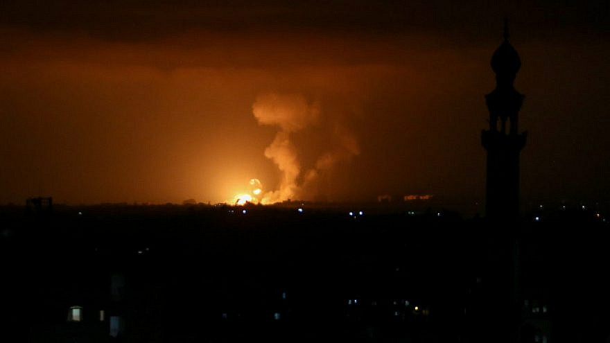 Fire and smoke seen after Israeli airstrikes in Rafah, in the southern Gaza Strip, May 10, 2021. Photo by Abed Rahim Khatib/Flash90.
