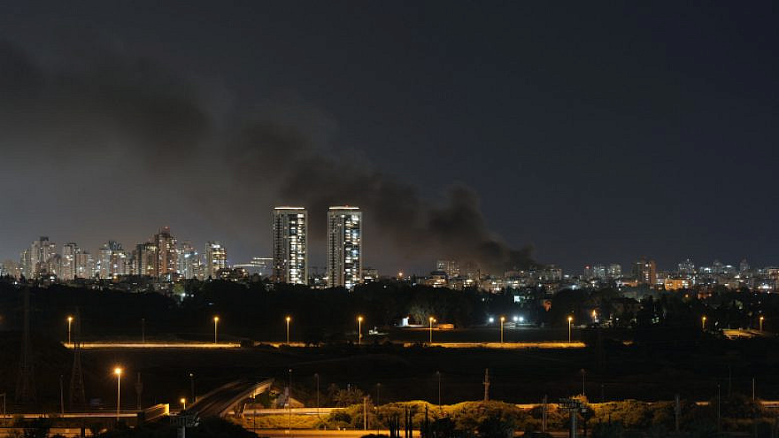 Smoke over Tel Aviv as more than 130 rockets were fired from the Gaza Strip into central Israel on May 11, 2021. Photo by Matanya Tausig/Flash90.