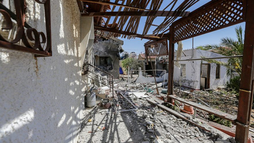 Damage to homes in the southern coastal Israeli city of Ashkelon, which were hit by rockets fired by Hamas in Gaza, May 12, 2021. Photo by Edi Israel/Flash90.