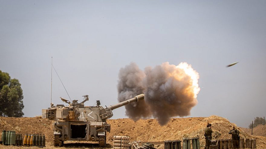 IDF Artillery Corps seen firing into the Gaza strip, near the Israeli border, following heavy rocket and missile barrages launched into Israel by Hamas and other terrorist organizations, May 12, 2021. Photo by Yonatan Sindel/Flash90.