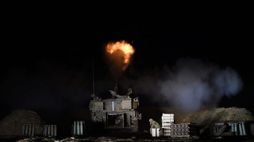 An Israel Defense Forces artillery unit fires towards the Gaza Strip near the border in southern Israel on May 13, 2021. Photo by Gili Yaari /Flash90.