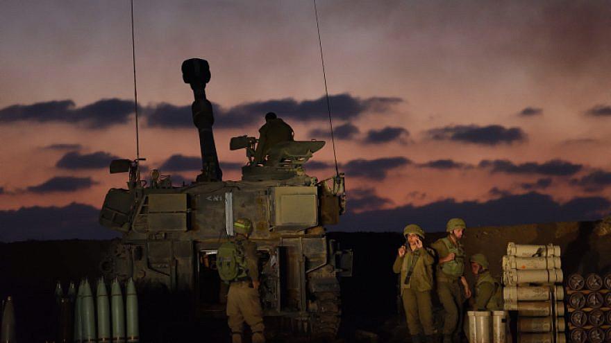 An Israel Defense Forces artillery unit near the border with Gaza on May 13, 2021. Photo by Gili Yaari /Flash90.