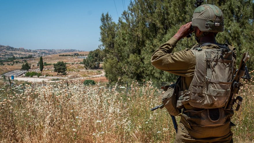 Israeli soldiers on guard near Metula, on the border between Israel and Lebanon, May 15, 2021. Photo by Basel Awidat/Flash90.