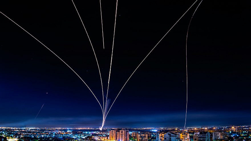 A long-exposure shot showing Israel's Iron Dome defense system firing interceptors at rockets fired from the Gaza Strip, May 16, 2021. Photo by Avi Roccah/Flash90.