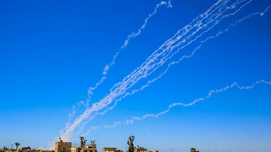 Rockets are launched towards Israel from the Gaza Strip, May 18, 2021. Photo by Abed Rahim Khatib/Flash90.