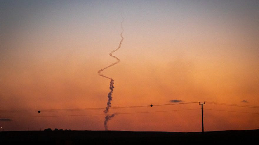 Smoke trails from a rocket launched from the Gaza Strip into Israel, May 19, 2021. Photo by Olivier Fitoussi/Flash90.