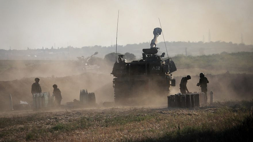 The IDF Artillery Corps fires into the Gaza Strip near the Israeli border on May 19, 2021. Photo by Olivier Fitoussi/Flash90.