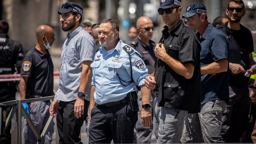 Israel Police Chief Kobi Shabtai arrives at the scene of a suspected terror attack near Ammunition Hill in Jerusalem on May 24, 2021. Photo by Yonatan Sindel/Flash90.