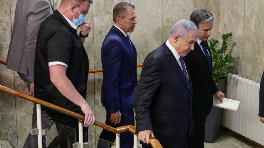 Prime Minister Benjamin Netanyahu meets with U.S. Secretary of State Anthony Blinken at the Prime Minister's Office in Jerusalem, on May 25, 2021. Photo by Marc Israel Sellem/POOL