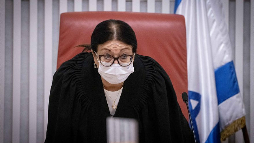 Supreme Court Chief Justice Esther Hayut at the Supreme Court in Jerusalem on May 27, 2021. Photo by Yonatan Sindel/Flash90.