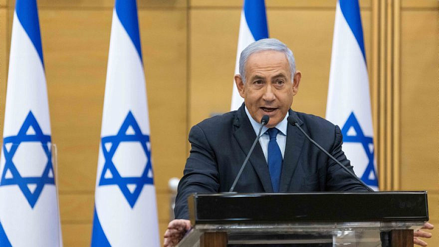 Israeli Prime Minister Benjamin Netanyahu speaks during a press conference at the Knesset in Jerusalem, on May 30, 2021. Photo by Yonatan Sindel/Flash90.