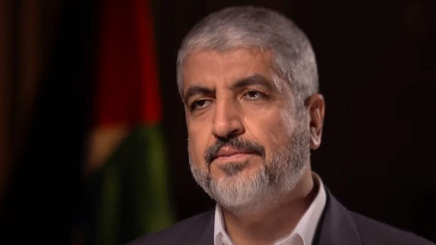 Hamas political bureau chief Khaled Mashaal speaks with BBC Middle East editor Jeremy Bowen in Qatar in 2015. Source: Screenshot.