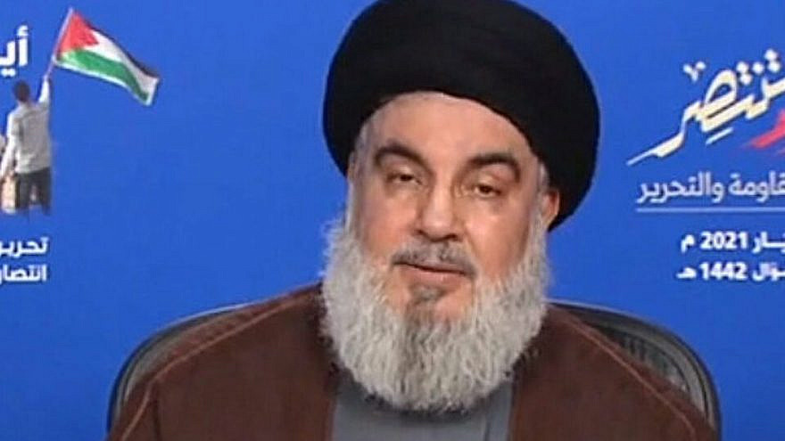 Hezbollah leader Hassan Nasrallah during a televised address marking the 21st anniversary of Israel's withdrawal from Southern Lebanon on May 25, 2021. Source: Screenshot.