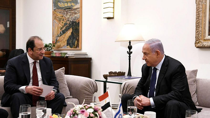 Israeli Prime Minister Benjamin Netanyahu meets with Maj. Gen. Abbas Kamel, the head of Egypt's General Intelligence Directorate, at the Prime Minister's Residence in Jerusalem, May 30, 2021. Credit: Prime Minister's Office.