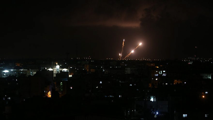 Some of the last rockets fired by Hamas in the Gaza Strip towards Israel before the start of a ceasefire on May 21, 2021. Photo by Abed Rahim Khatib/Flash90.