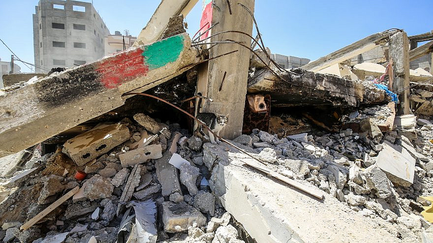 A destroyed house in Rafah in the Gaza Strip after two weeks of rocket attacks launched by Hamas on Israeli civilian populations, resulting in heavy Israeli airstrikes in the Strip, May 24, 2021. Photo by Abed Rahim Khatib/Flash90.