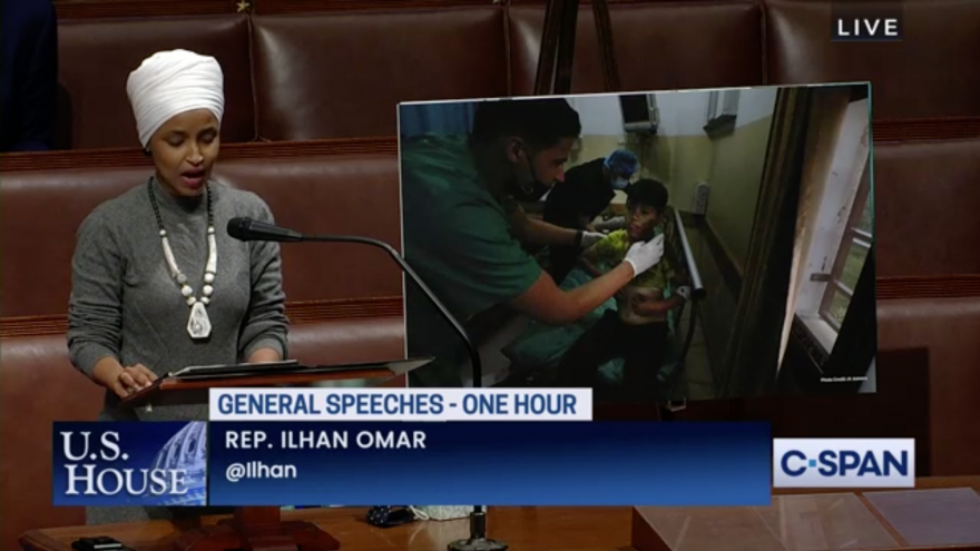 Rep. Ilhan Omar (D-Minn.) speaking on the floor of the U.S. House of Representatives on the conflict between Israel and Palestinians, May 13, 2021. Source: Screenshot/C-SPAN.