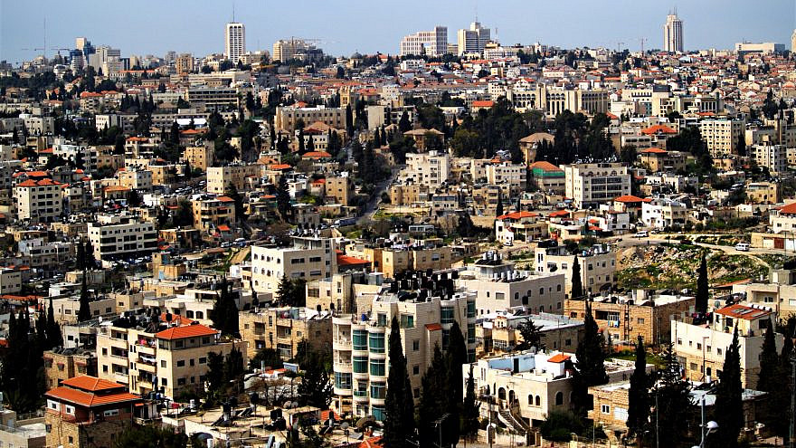 A view of the Sheikh Jarrah neighborhood of eastern Jerusalem. In the background is the city center. Credit: David Shankbone via Wikimedia Commons.