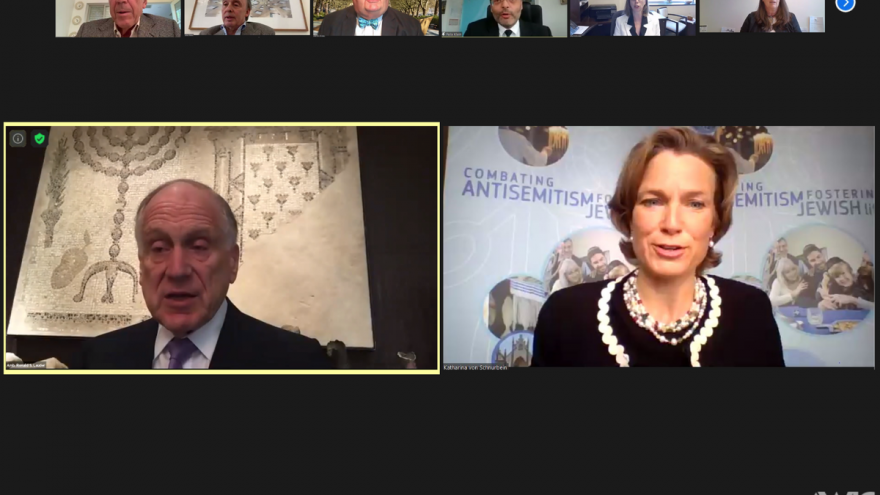 The International Meeting of Special Envoys and Coordinators Combating Antisemitism (SECCA), convened as part of the World Jewish Congress, May 4, 2021. Source: Screenshot/WJC.