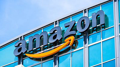 Amazon logo on the facade of one of its corporate office buildings in Silicon Valley, in the San Francisco Bay area. Credit: Sundry Photography/Shutterstock.