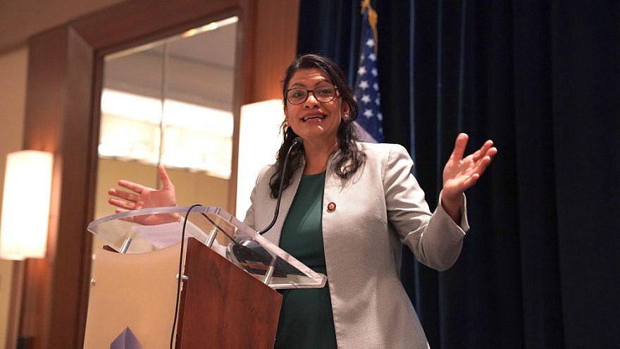 Rep. Rashida Tlaib (D-Mich.) speaks at the Council on American Islamic Relations (CAIR), congressional reception for newly elected congressional representatives. Credit: Phil Pasquini/Shutterstock.