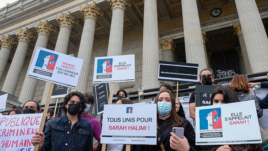 About 800 people gathered in front of the 24 columns courthouse in Lyon to demand justice for Sarah Halimi. Lyon, France. Credit: Franck Chapolard/Shutterstock.