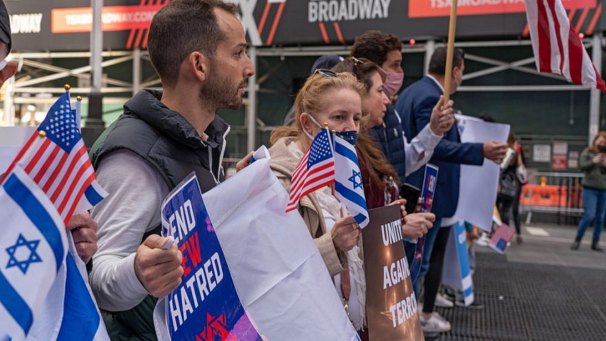Jewish and pro-Israel gathered in New York City in solidarity with Israel and in protest against rising levels of anti-Semitism and severe anti-Jewish attacks, May 23, 2021. Credit: Ron Adar/Shutterstock.