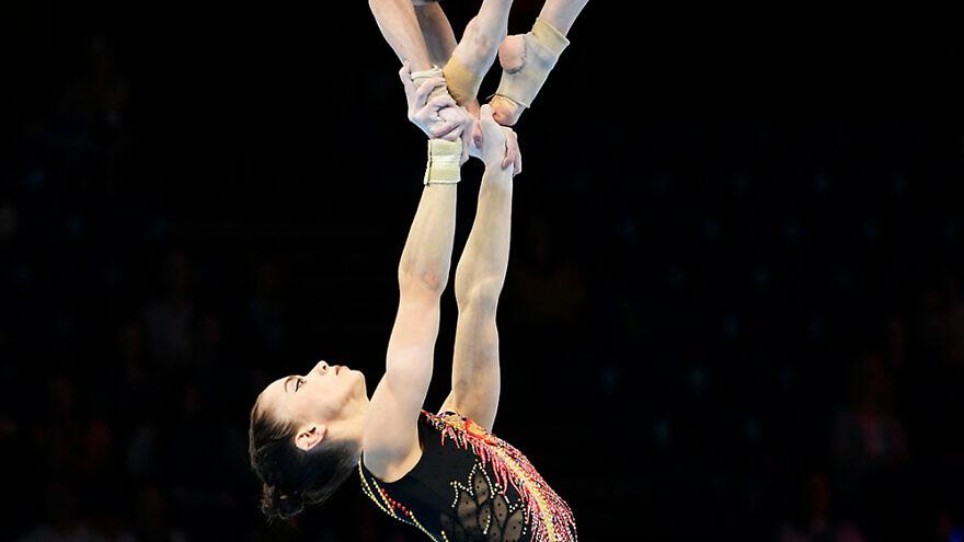 Acrobatic gymnasts at the 2018 World Championships in Antwerp. Credit: Federation Internationale de Gymnastique.